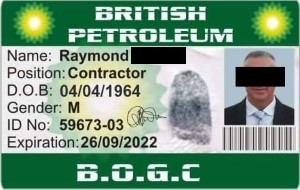 Fake ID of an imposter posing as an oil rig engineer.